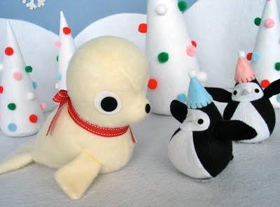 cánh cụt và hải cẩu gấu bông vải nỉ hàn quốc đón giáng sinh nhè