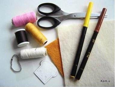 Nguyên liệu làm móc khóa nỉ handmade từ vải dạ nỉ