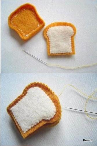 Nối 2 mặt bánh mỳ vải dạ nỉ handmade