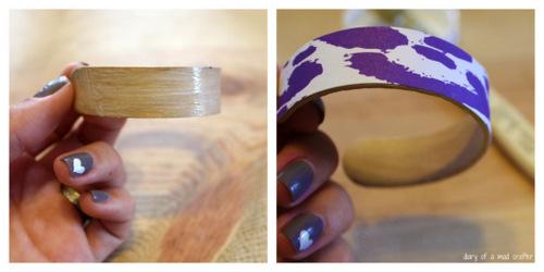 Dán giấy trang trí vòng tay handmade với keo sữa