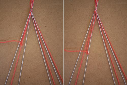 Tết thắt nút cho đến dây ở giữa để làm vòng tay bằng chỉ