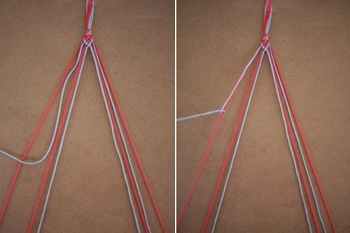 Cách tết thắt nút đặc biệt bắt đầu từ sợi thứ hai