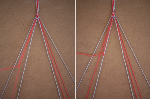 Tết thắt nút sợi 1 với sợi 3, sợi 1 với sợi 4