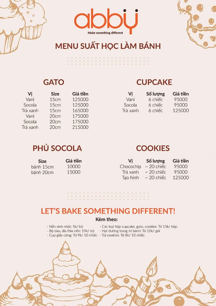 Menu các suất bánh tại lớp học làm bánh giá rẻ