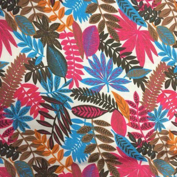 Vải canvas với họa tiết lá nhiều màu