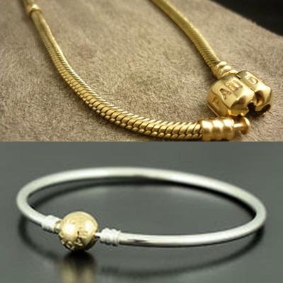 Dây vòng đeo tay pandora bằng vàng và bạc sang trọng