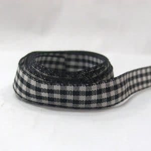 Ruy băng caro 1.2cm (1m) - đen trắng
