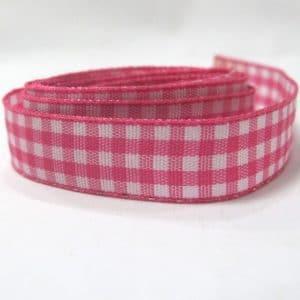 Ruy băng caro 1.2cm (1m) - hồng trắng