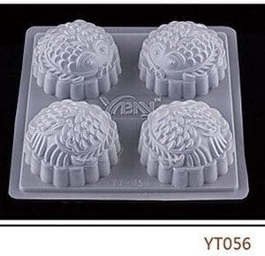 Khuôn nhựa 4 ô bánh trung thu hình cá