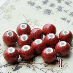 Hạt gốm tròn 12mm màu đỏ