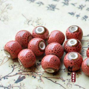 Hạt gốm tròn 12mm màu hồng