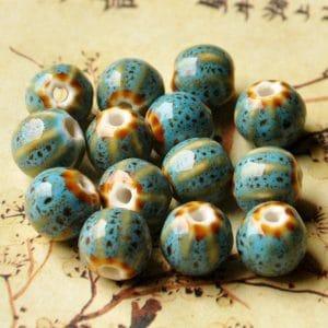 Hạt gốm tròn có vân 12mm màu xanh lam