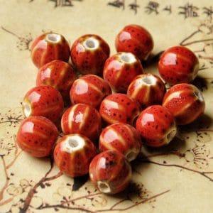Hạt gốm tròn có vân12mm màu đỏ