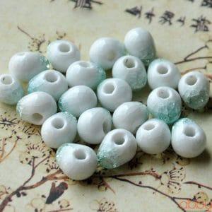 Hạt đá nứt 10mm màu xanh bảo ngọc