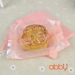 Bộ túi và khay đựng bánh 50g delicieux màu hồng (12 chiếc)