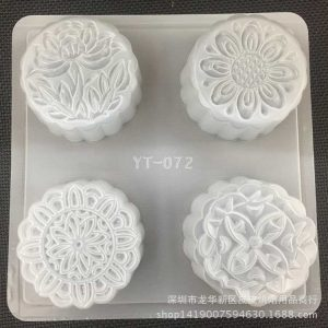 Khuôn nhựa 4 ô bánh Trung Thu tròn