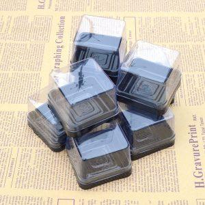 Hộp nhựa đựng bánh trung thu 50g đế đen nắp trong (6 bộ)