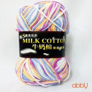 Len cotton milk - màu pha tím xanh vàng trắng - số 36