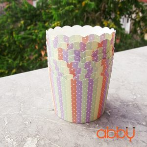 Cup giấy cứng tròn 7cm - họa tiết cầu vồng