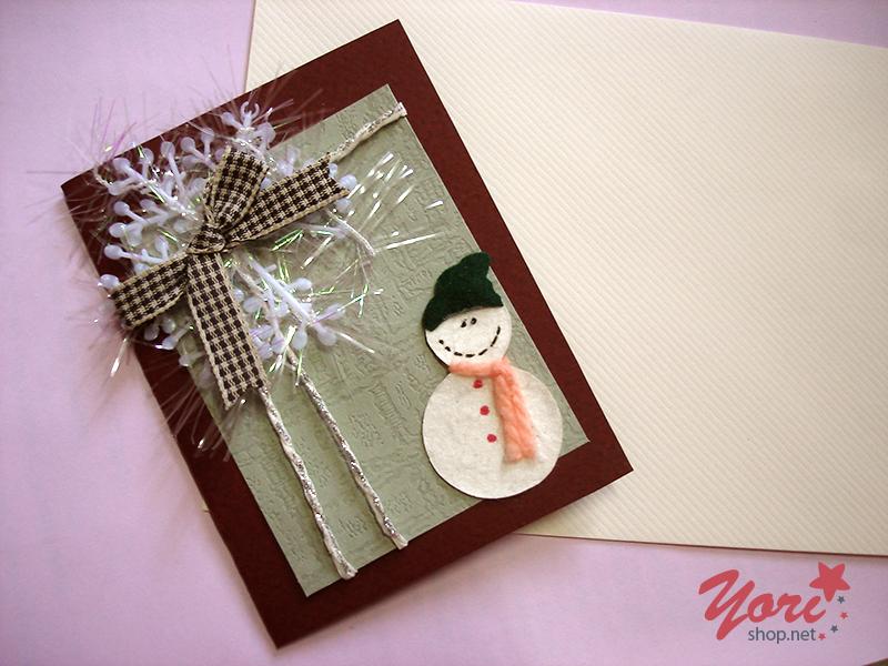 Thiệp người tuyết với tông màu nhẹ nhàng sang trọng