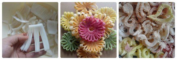 Làm mứt dừa hình rẻ quạt và bông hoa (Ảnh: fb Hien Thu)