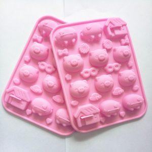 Khuôn silicon 12 viên lợn và ngôi nhà