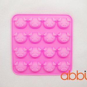 Khuôn silicon 16 ô hình con lợn