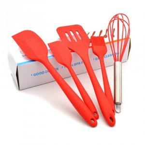 Bộ 5 dụng cụ silicon cơ bản màu đỏ