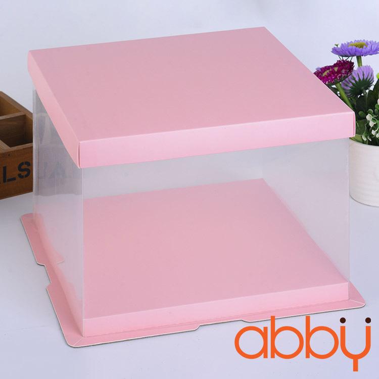 Hộp mica trong suốt 25x25x25cm màu hồng