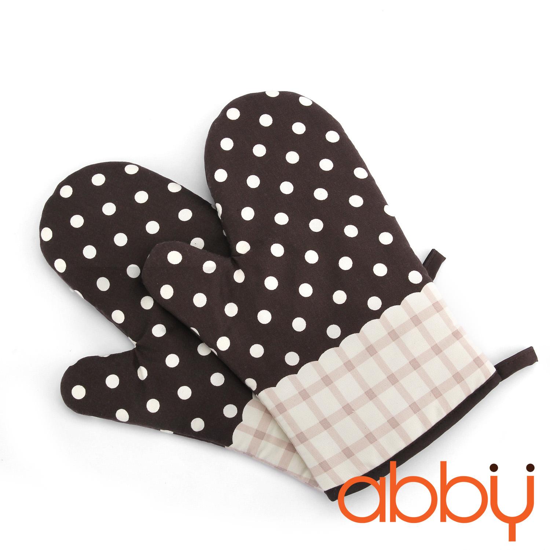 Găng tay chống nhiệt vải thô 28cm chấm bi nâu (1 chiếc)