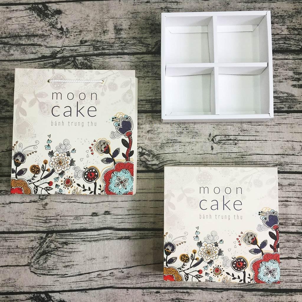 Bộ túi & hộp giấy đựng 4 bánh trung thu 125-250g mẫu hoa cỏ