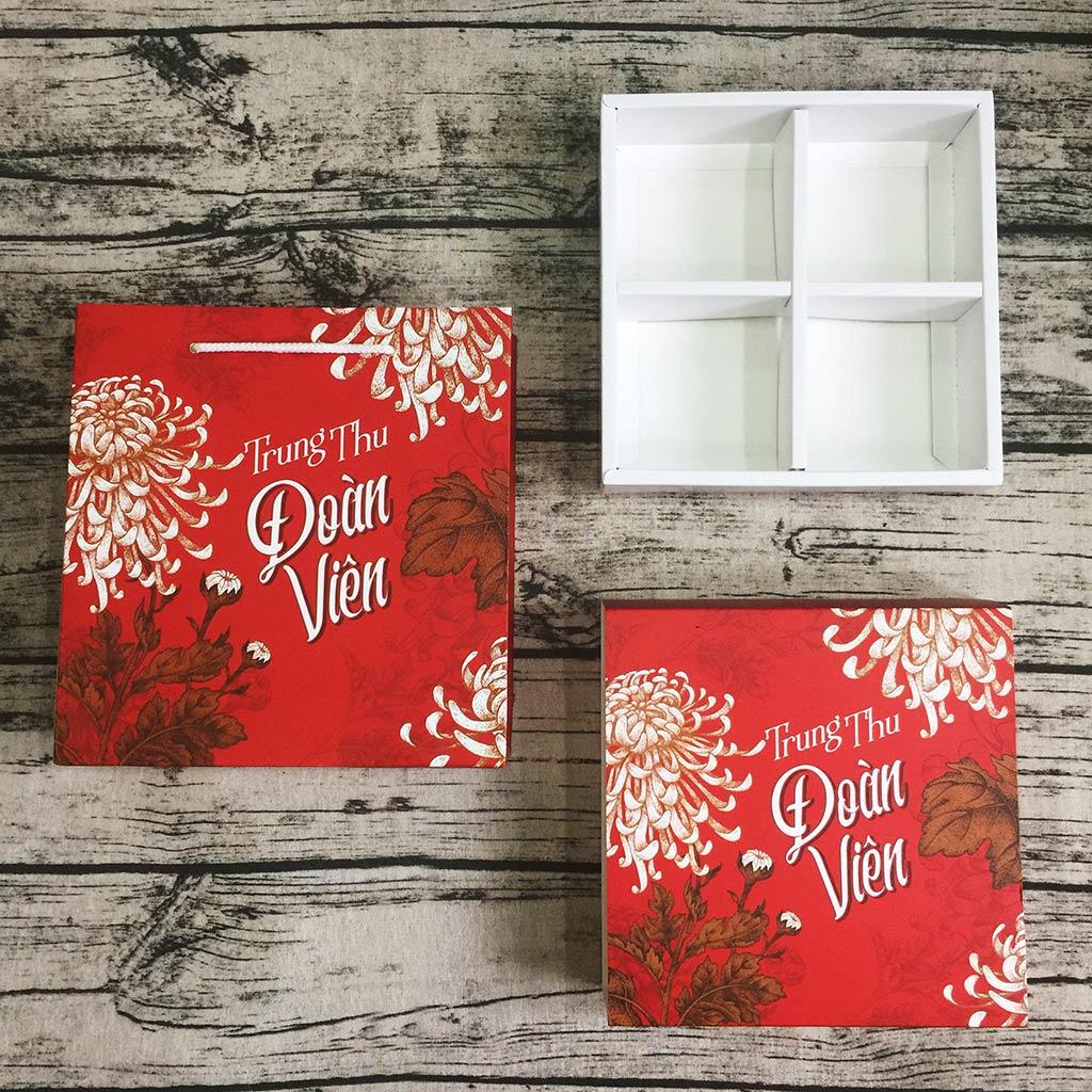 Bộ túi & hộp giấy đựng 4 bánh trung thu 125-250g mẫu hoa cúc