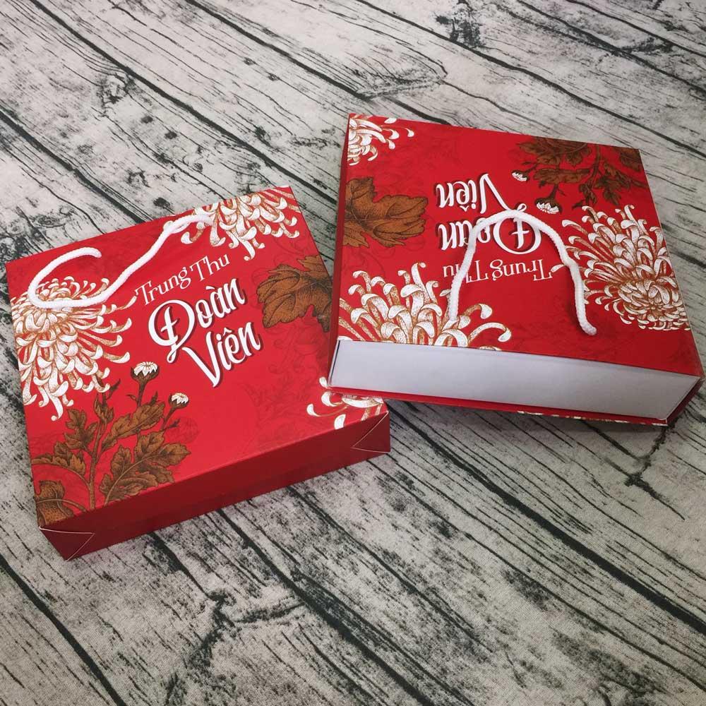 Bộ túi & hộp giấy tối giản đựng 4 bánh trung thu 125-250g mẫu cúc đỏ