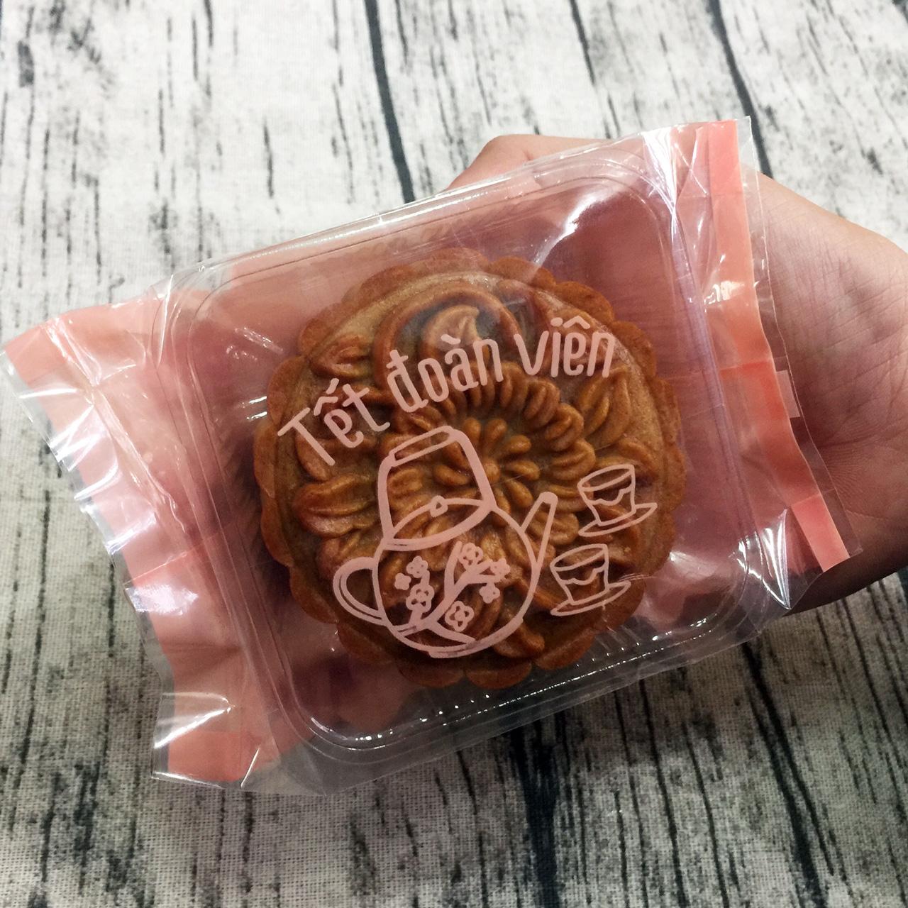 Túi đựng bánh trung thu 125-150g ấm trà hồng (12 túi)