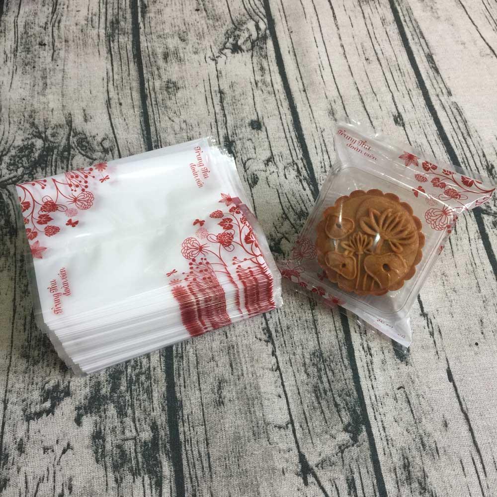 Túi đựng bánh trung thu 125-150g hoa đỏ (100 túi)