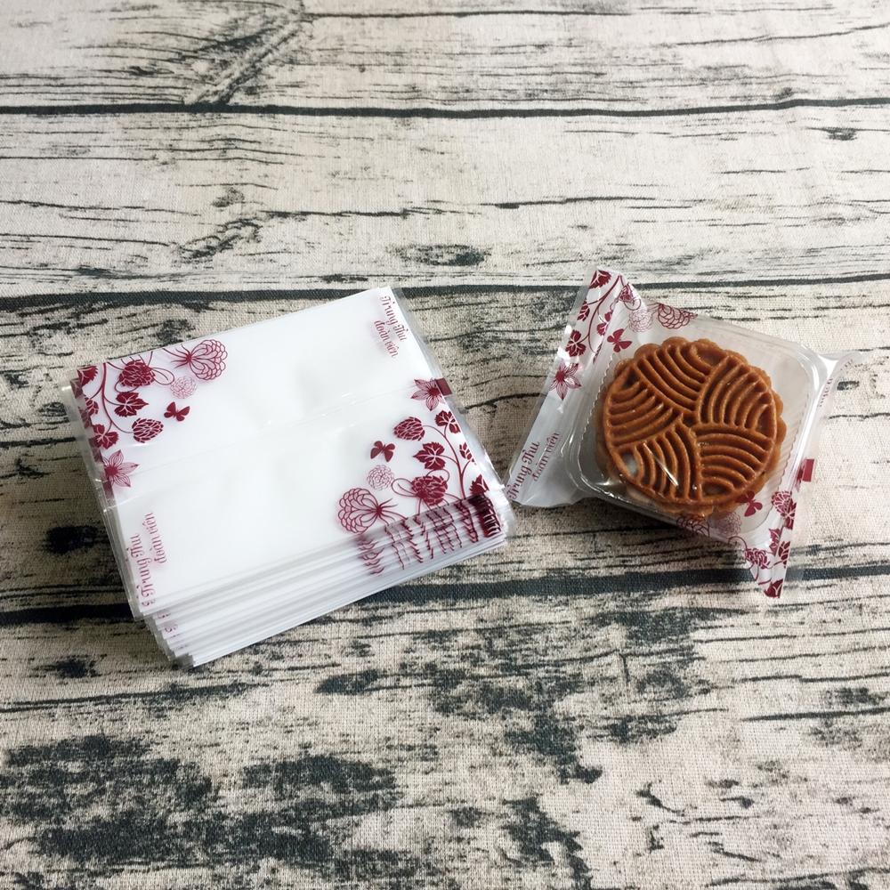 Túi đựng bánh trung thu 100g hoa đỏ nền trắng (100 túi)