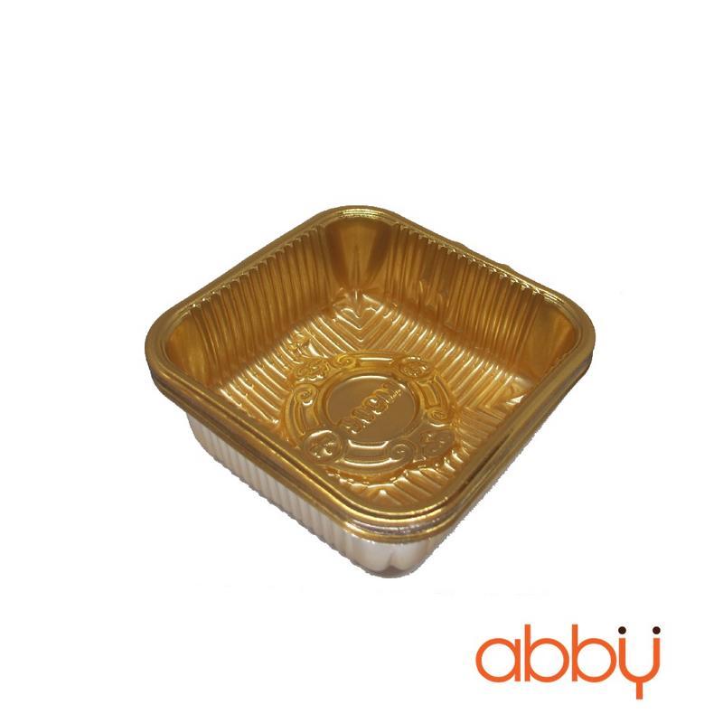 Khay nhựa 9cm vàng đựng bánh 125-150g (12 chiếc)