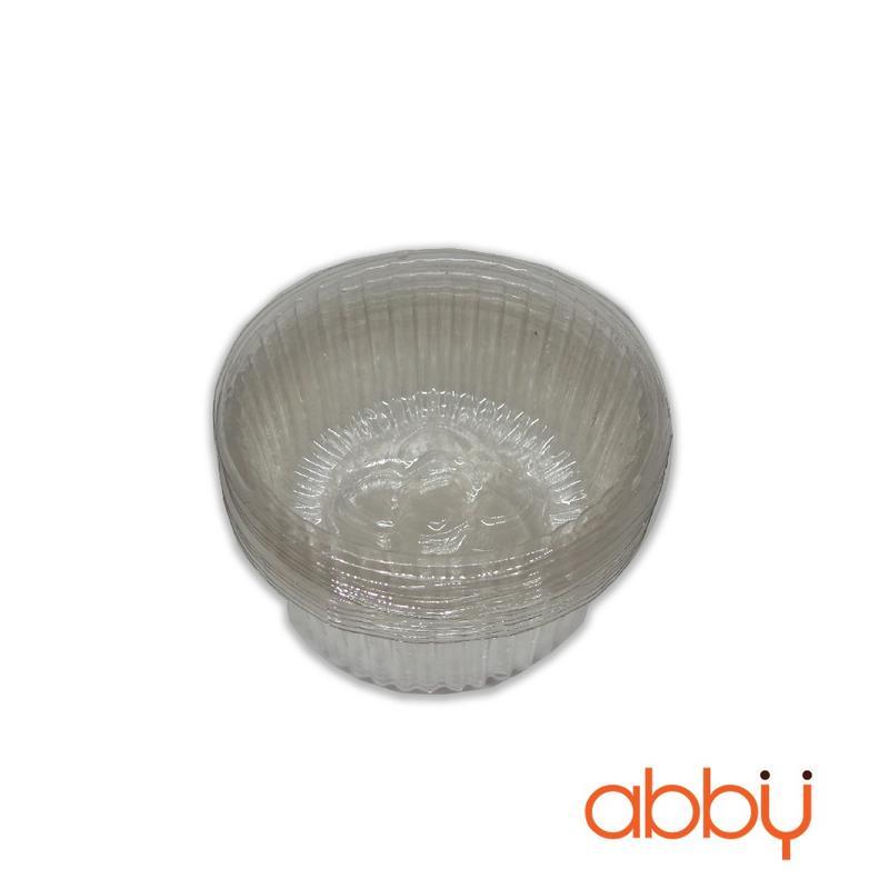 Khay nhựa tròn 7cm đựng bánh 50-75g (12 chiếc)