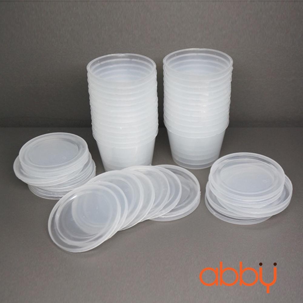 Hộp nhựa caramen tròn cao 5cm (50 chiếc)