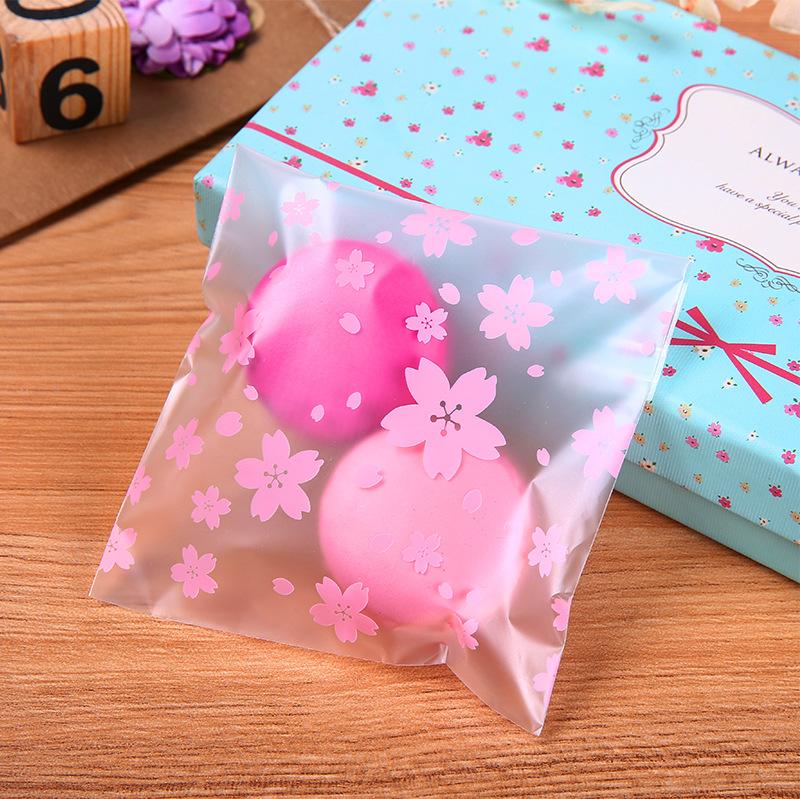 Túi đựng bánh quy hoa đào 10x10cm (10 chiếc)