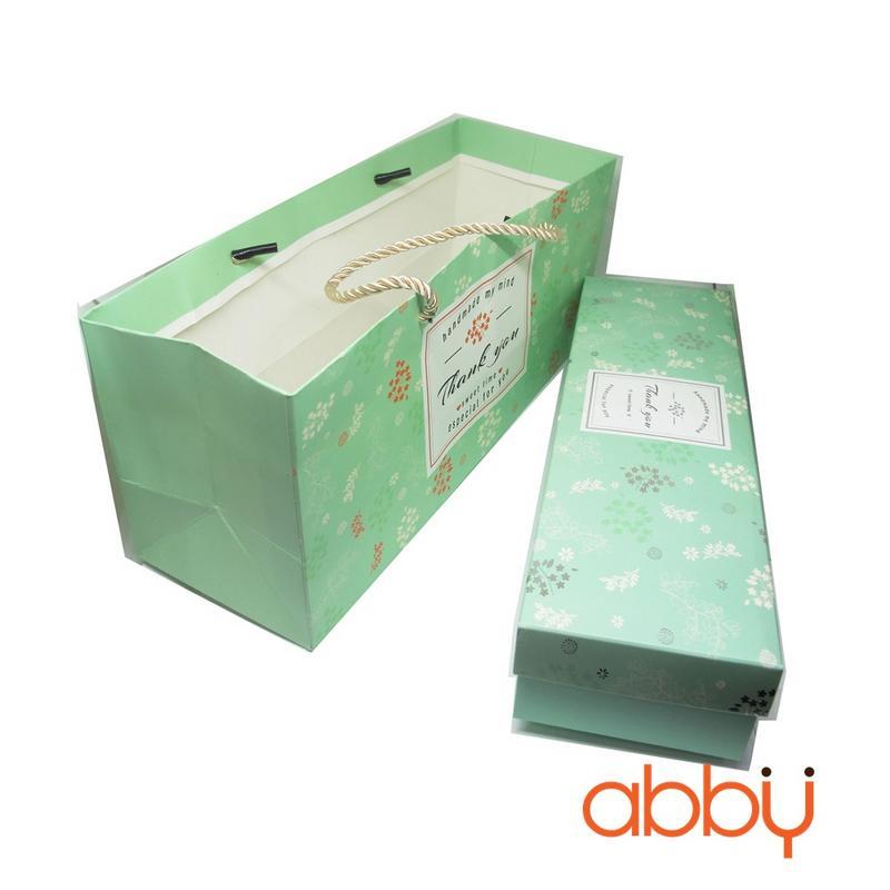Bộ túi và hộp đựng bánh dứa Thank you màu xanh 27.5x7x5cm