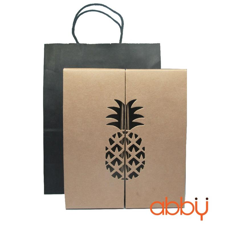 Bộ túi và hộp giấy đựng bánh dứa ghép đôi (1 túi + 2 hộp)