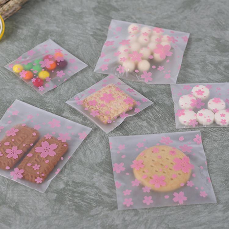 Túi đựng bánh quy hoa đào 10x8cm (10 chiếc)