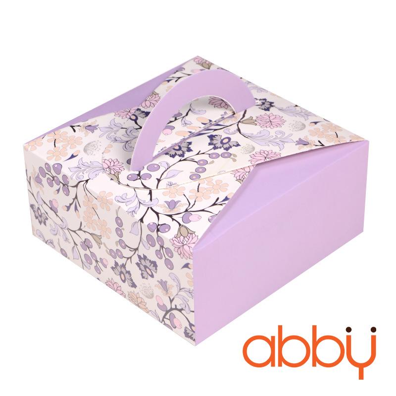 Hộp giấy có quai hoa nền tím 14x14x6.5cm