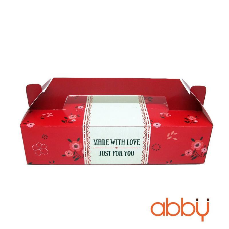 Hộp giấy có quai xách màu đỏ 8x22x5cm