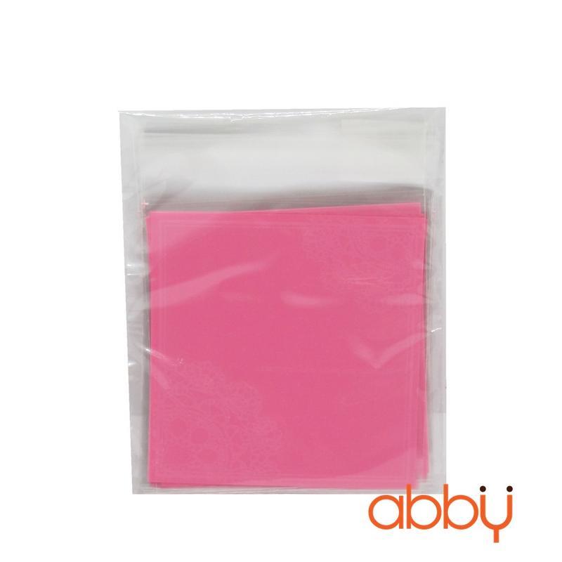 Túi đựng bánh quy ren hồng 10x10cm (10 chiếc)