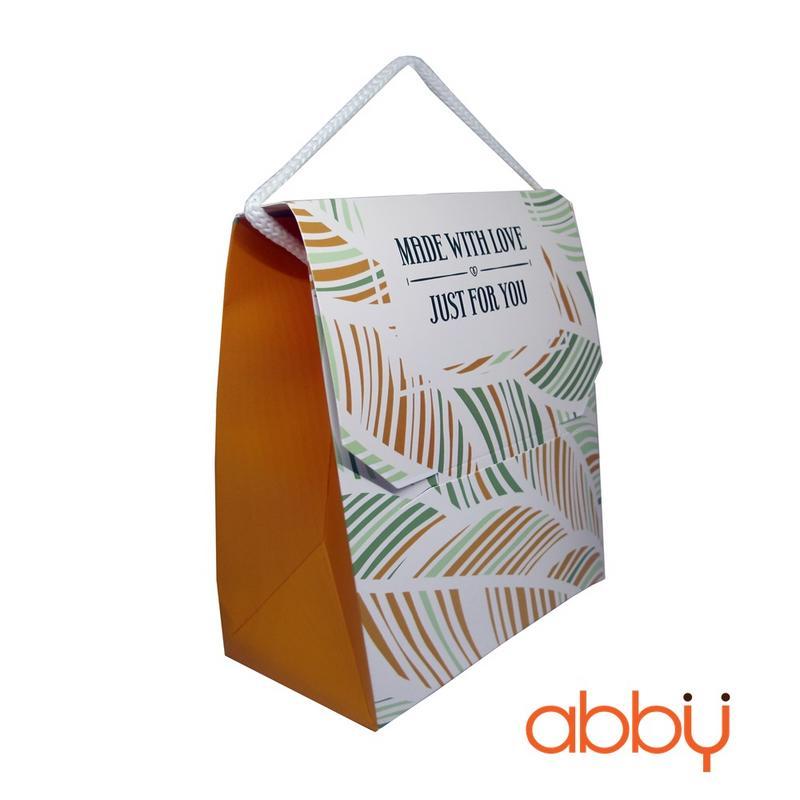 Hộp giấy đựng bánh quy màu vàng 15x18x11cm