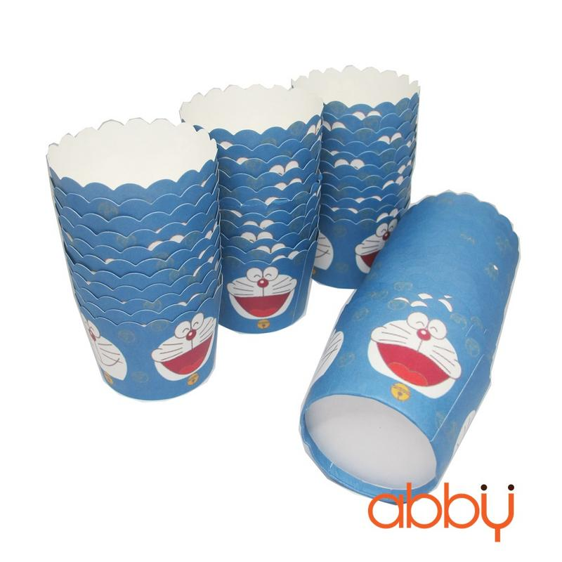 Cup giấy cứng 6x5cm mẫu Doraemon (48 - 50 chiếc)