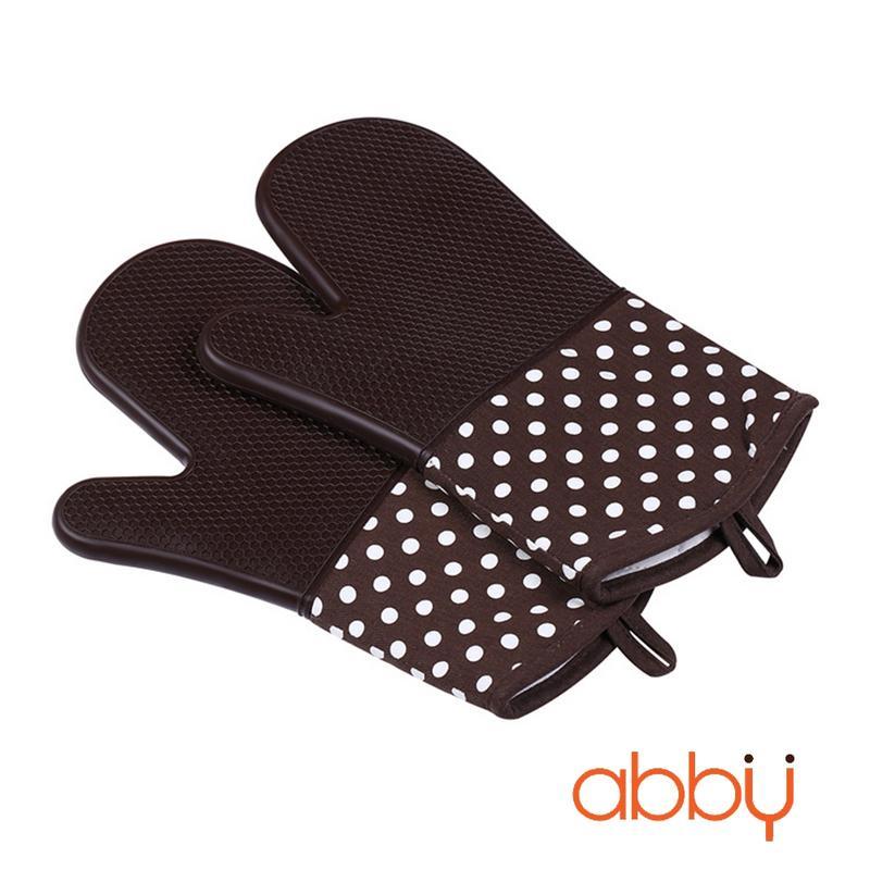 Găng tay chống nhiệt silicon 33cm chấm bi nâu (140g)