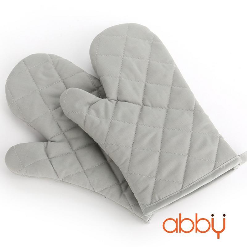 Găng tay chống nhiệt vải thô 28cm màu xám (70g)
